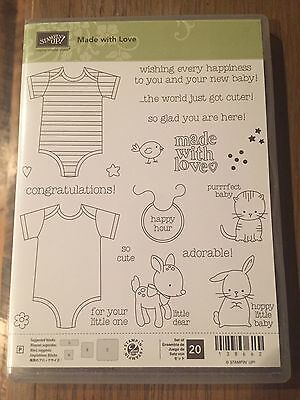 Stampin Up Photopolymer Made with Love NEW Baby Romper Bunny Kitty Newborn