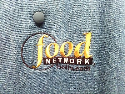UNISEX L-XL FOOD NETWORK Embroidered Double-Breasted Blue Jean Chefs Coat Button