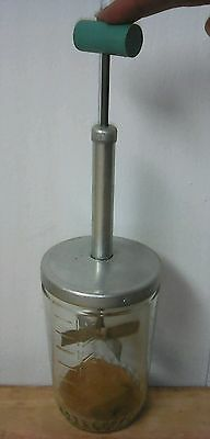 VTG #12 Pat. Food/Nut Chopper 2 cup Glass Measure Cup w/Wood TEAL Cylinder Knob