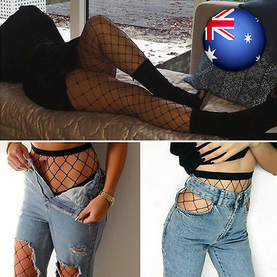 Women Lady Large Mesh Fishnet Stockings Jacquard Pantyhose Top Waist High Tights