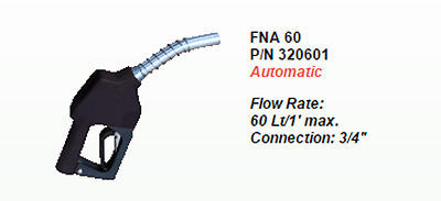 Fuel Nozzle Automatic Flow Rate: 60 Lt/1' max. Connection: 3/4""