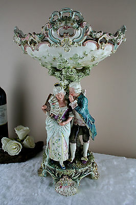 a Large  antique german Centerpiece coupe Faience couple marked 1930