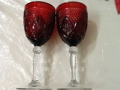 Cris D'Arques Ruby Red Cut Glass Water Goblet with Clear Stem (1)