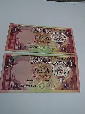 Lots Of 2 Central Bank Of Kuwait One Dinar Paper Money Circulated