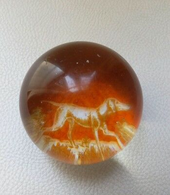 antique bohemian paperweight dog 1850