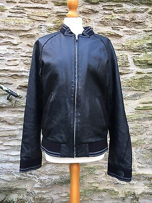 Men's Diesel Leather Jacket Size L Black Bomber VGC