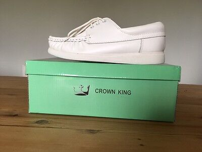 Crown King Mens Leather Bowls Shoes White New In Box Size 9 Uk