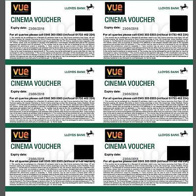 6 Vue Cinema Tickets - Expiry 23/06/2018 - Club Lloyds - Free delivery by email