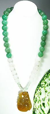 Estate Chinese Natural Green-White Jade Beaded Necklace Large Pendant Gold Fille