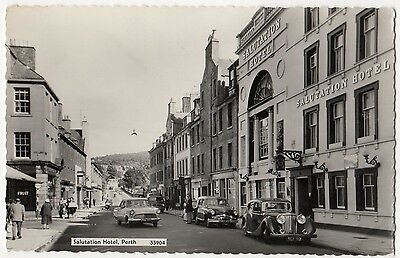 Perth, Salutation Hotel With Vintage Cars ~ An Old Real Photo Postcard #7T4