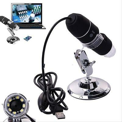2MP 1000X 8 LED USB Digital Microscope Endoscope Zoom Camera Magnifier& Stand N′