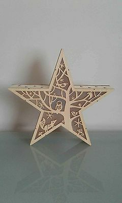 Led Wooden Star Winter Night.
