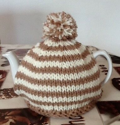 Hand knitted tea cosy In Cream & Beige. To Fit A 4-6 Cup (2 Pint) Tea Pot