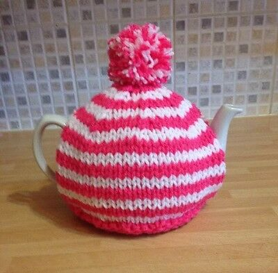 Hand knitted tea cosy In Pink & White. To Fit A 4-6 Cup (2 Pint) Tea Pot