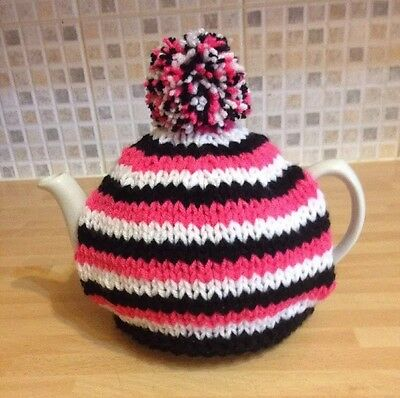 Hand knitted tea cosy In Pink, White & Black. To Fit A 4-6 Cup (2 Pint) Tea Pot