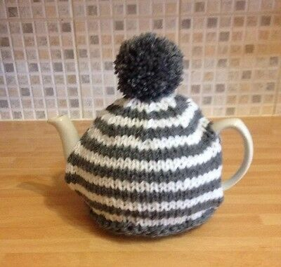 Hand knitted tea cosy In Grey & White. To Fit A 4-6 Cup (2 Pint) Tea Pot