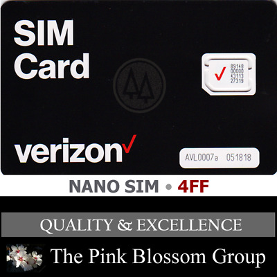 VERIZON NANO SIM Card 4FF • CDMA 4GLTE • NEW Genuine OEM •  Prepaid or Postpaid