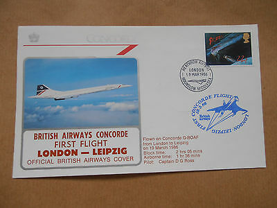 Britsh Airways Concorde first flight flown cover London - Leipzig