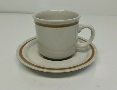 Vintage 1970's Mountain Wood Collection Stoneware Vanilla Spice Cup & Saucer