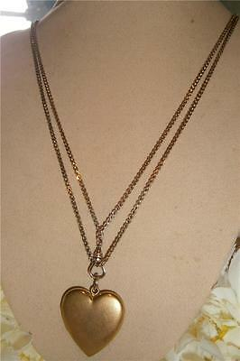 Antique Art Deco 1920's Gold Gf Heart Photo Locket Watch Chain Necklace