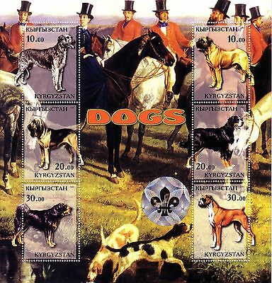 KYRGYZSTAN 2001 Six-Stamp DOGS Sheet with Hologram MNH