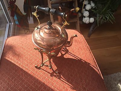 Vintage copper and brass spirit kettle on stand