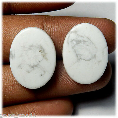 26.60 Cts NATURAL TOP QUALITY HOWLITE MATCHED PAIR OVAL SHAPE CAB GEMSTONE HL-04
