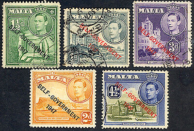 "Malta #235...240, used -1948-  Overprinted ""SELF-GOVERNMENT"""