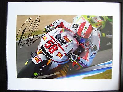 Marco Simoncelli Signed 12x8 photo. Mounted and Framed. Moto GP.