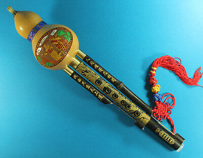 Chinese Yunnan Ethnic Gourd Flute, Bamboo 3 Octaves Hulusi, Hand Carved + Gift~!