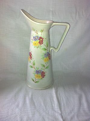 Art Deco E Radford England Hand Painted Tall Jug Vase Soft Green Floral Deco