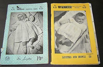 2 Vintage Knitting Pattern Baby Crochet Books Patons Layettes Shawls R15 R23 Old