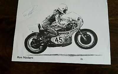 RON HASLAM hand signed 12x8 print.