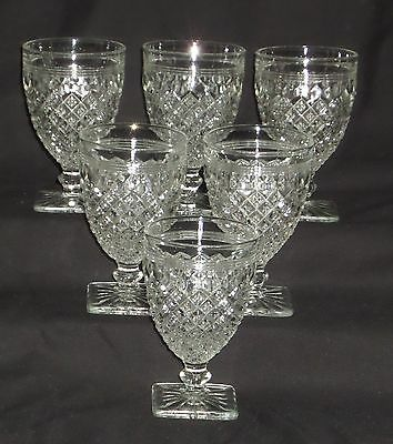 "6 Anchor Hocking MISS AMERICA CRYSTAL *3 3/4"" WINE GOBLETS*"