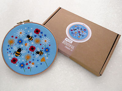Bees Embroidery Kit, Bees and Wildflowers Hoop Art Kit, Modern Hand Embroidery
