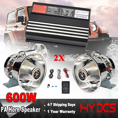 600W Loud 8 Sound Car Warning Alarm Police Fire Siren Horn PA Speaker MIC System