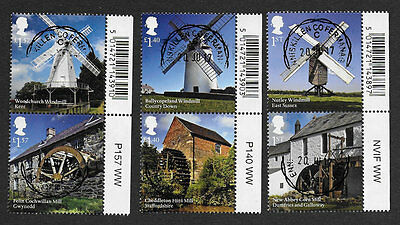 1) GB Stamps 2017 Windmills & Watermills Full Set Pairs Very Fine Used .