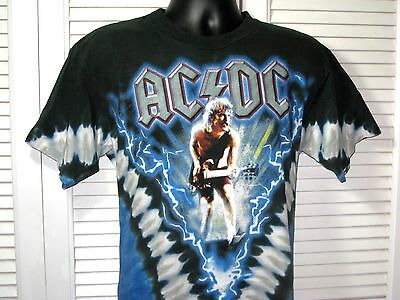 """AC DC 2004 T-Shirt~""""Let There Be Rock""""~Men's M~Tie Dye~Used, No Tag~Nice Rare!"""