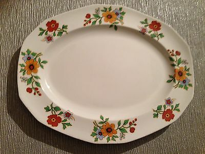 "Alfred Meakin Serving Platter In White Edged With Flowers. Exc Cond. 12""x9.75""."