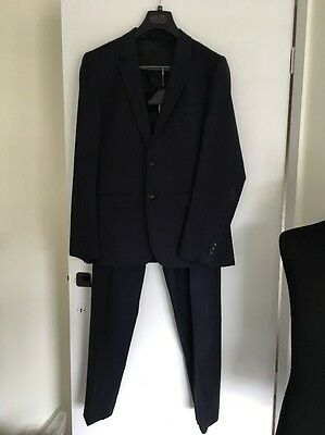 "Mens Reiss Wool Blue Daniel Two Piece Suit Blazer 40"" Large Trousers W34"" L33"""