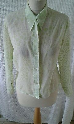Vintage 1970s sheer spotty blouse shirt big collar size 10