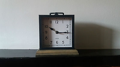 Black And Wood Base Contemporary Rustic Metal Square Mantle Clock