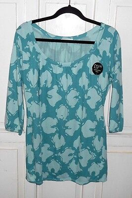 M&s   Ladies Lovely Green  Tunic Top  Size 10 -12  New Tags