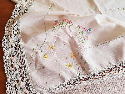 "Vintage Hand  Embroidered Linen Tablecloth 49"" By 47"""