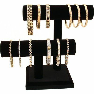 2 Tier Black Velvet T-Bar Bracelet Watch Jewelry Stand Display