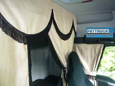TRUCK CURTAINS SET BEIGE WITH BLACK STRINGS Man Scania,Volvo,Daf,Iveco, Mercedes