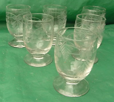 6 small pretty vintage engraved liqueur glasses use display