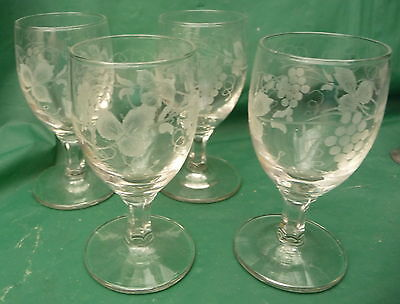 4 small pretty vintage engraved glasses use display