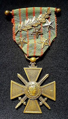 WW1 Original French Medal War Cross 1914-1916 with 5 citations Silver stars palm