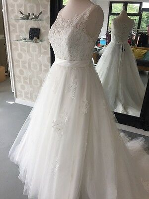 Eternity Bride Wedding Dress Gown Lace Tulle & Buttons UK 14 Rrp £1455